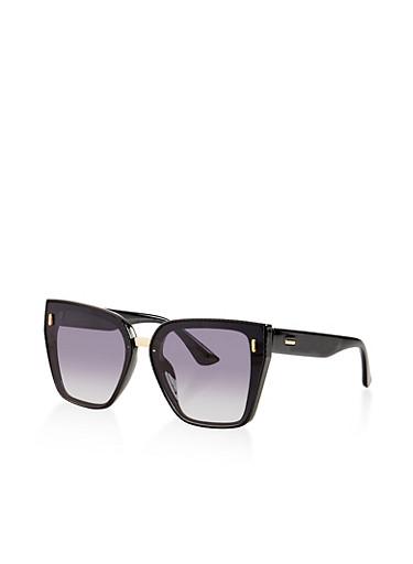 Textured Trim Flat Sunglasses,BLACK,large