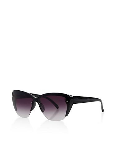 Half Rim Plastic Sunglasses,BLACK,large