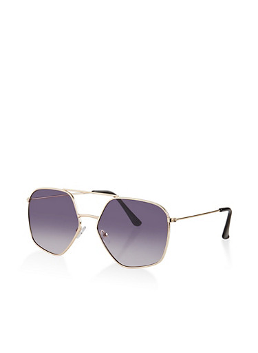 Top Bar Geometric Aviator Sunglasses,GRAY,large