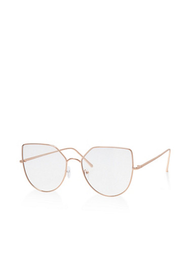 Metallic Frame Colored Glasses,WHITE,large