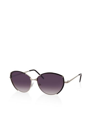 Partial Painted Rim Sunglasses,BLACK,large