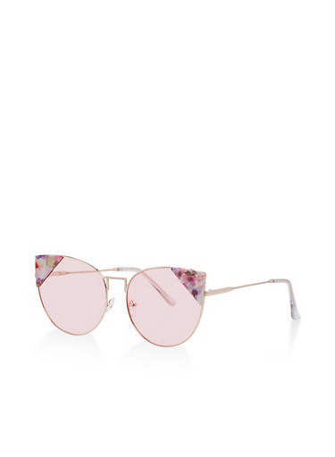 Floral Detail Cat Eye Sunglasses,PINK,large