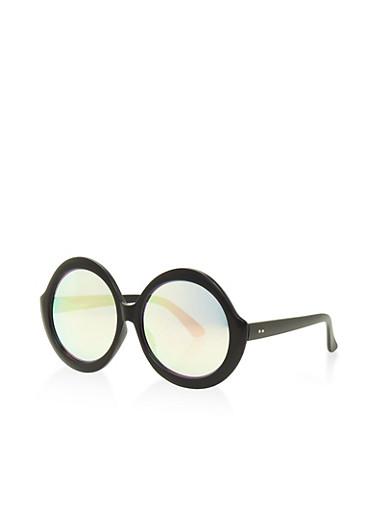 Round Oversized Sunglasses,BLACK,large
