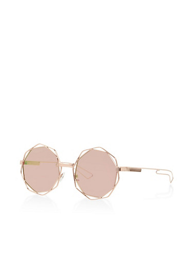 Metallic Frame Geometric Sunglasses,ROSE,large
