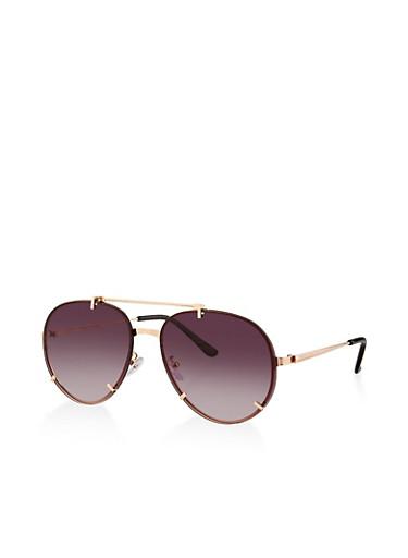 Rimless Top Bar Aviator Sunglasses,BLACK,large