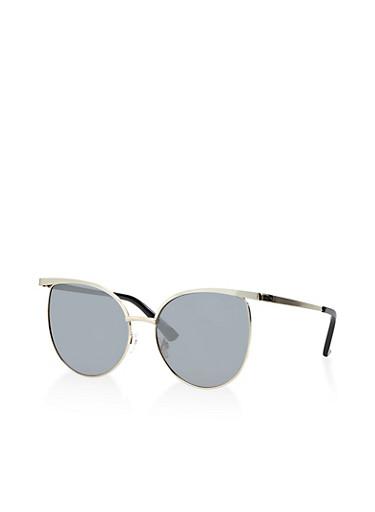 Round Metallic Rim Sunglasses | 3133073921952,SILVER,large