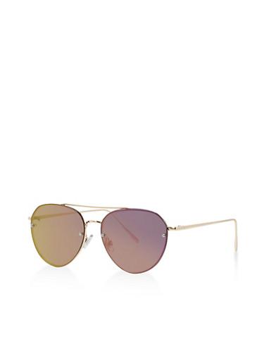 Mirror Metallic Top Bar Sunglasses,PURPLE,large
