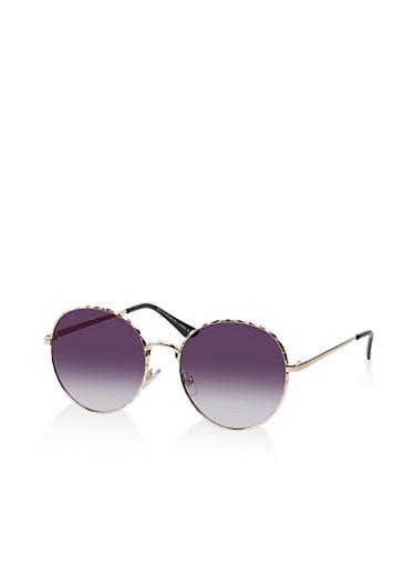Hammered Metallic Circular Frame Sunglasses,BLACK,large