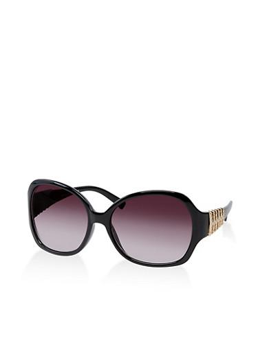 Textured Metallic Detail Sunglasses,BLACK,large