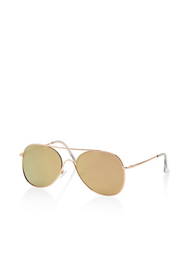 Mirror Metallic Aviator Sunglasses,ROSE,large