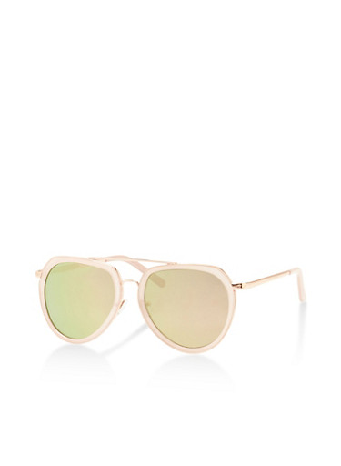 Framed Mirror Metallic Aviator Sunglasses,BLUSH,large