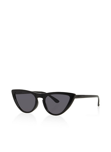 Skinny Cat Eye Sunglasses,BLACK,large