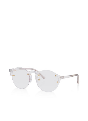 Round Rimless Clear Glasses   Tuggl