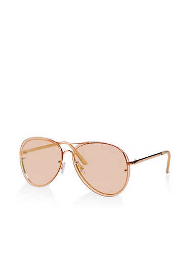 Rimless Aviator Sunglasses,PINK,large
