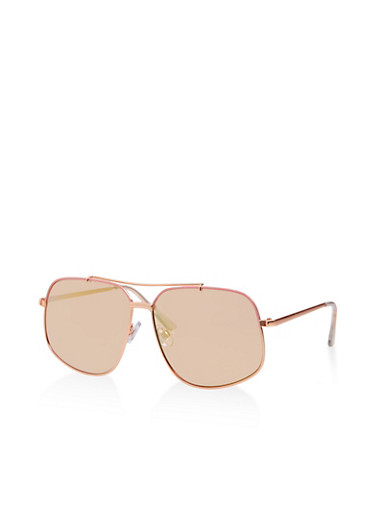 Tinted Square Aviator Sunglasses,ROSE,large