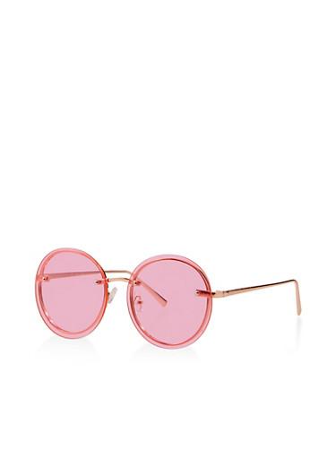 Round Rimless Sunglasses,PINK,large