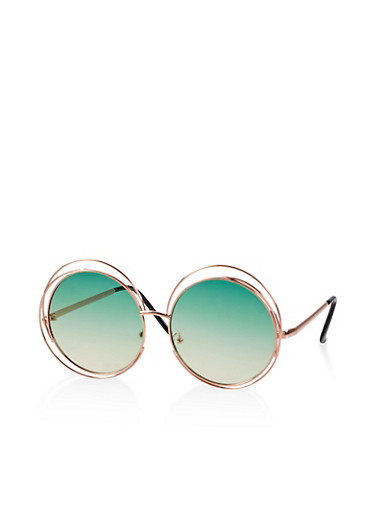 Circular Double Wire Frame Sunglasses,GREEN,large