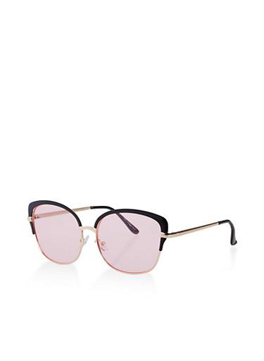 Colored Frame Square Sunglasses,BLACK,large