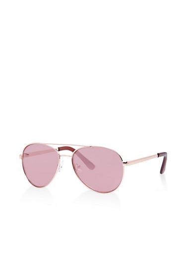 Mirrored Aviator Sunglasses,ROSE,large