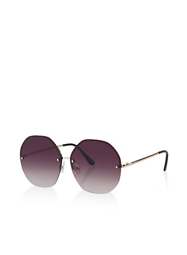 Rimless Geometric Sunglasses,GRAY,large