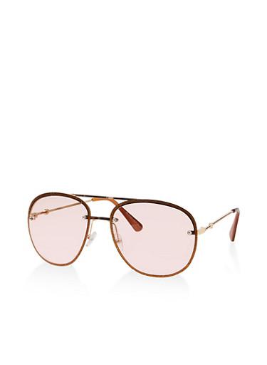 Glitter Rim Aviator Sunglasses,GREEN,large