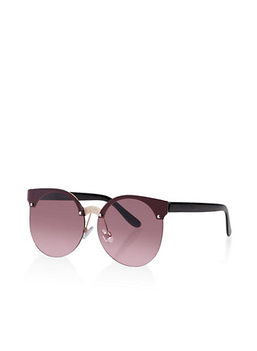 Rimless Round Sunglasses,GRAY,large