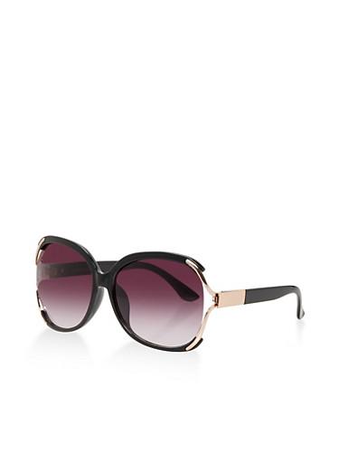 Metallic Open Side Sunglasses,BLACK,large