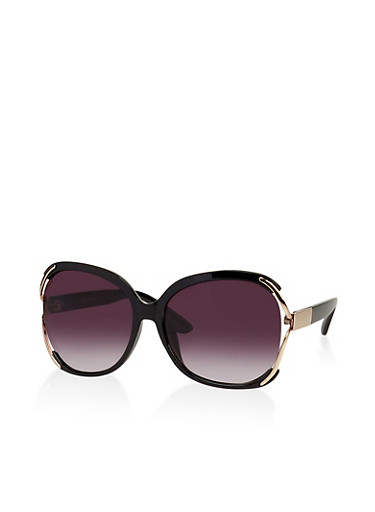 Oversized Side Cut Out Sunglasses,BLACK,large
