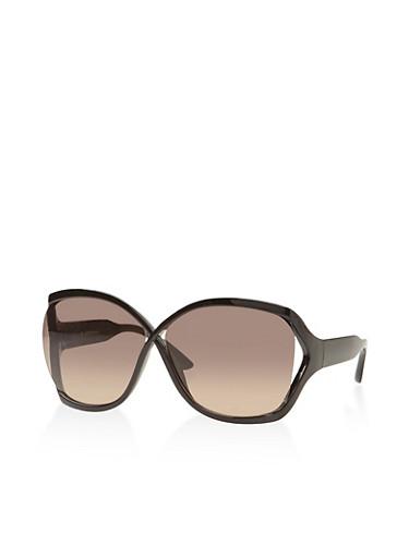 Open Side Sunglasses,BLACK,large