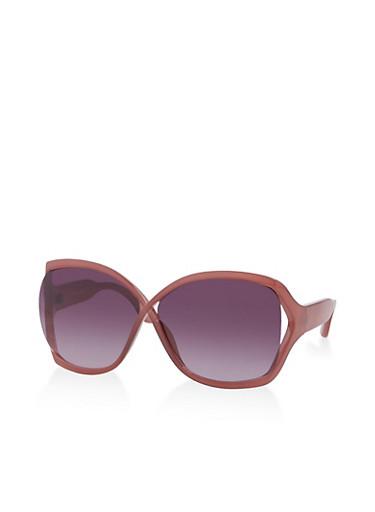 Oversized Open Side Sunglasses,WINE,large