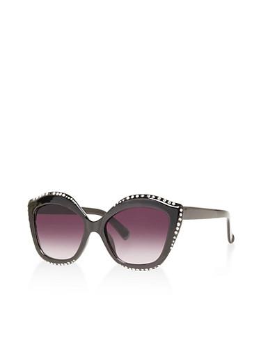 Rhinestone Studded Cat Eye Sunglasses,BLACK,large