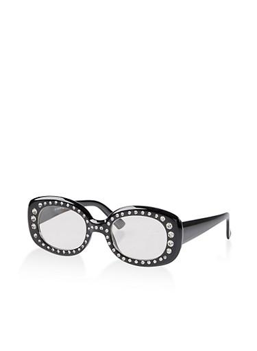 Oval Rhinestone Frame Sunglasses,BLACK,large