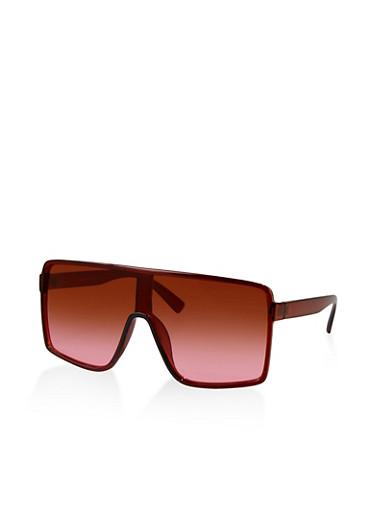 Gradient Shield Sunglasses,BROWN,large