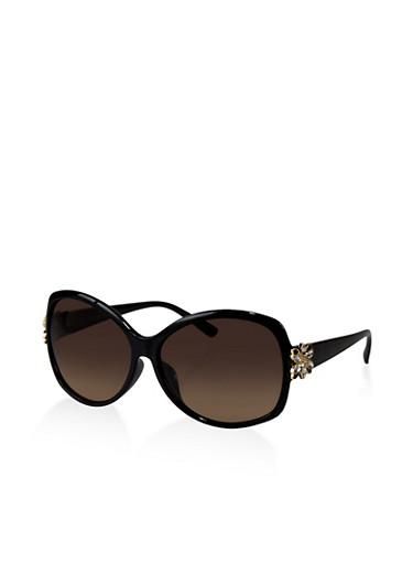 Rhinestone Flower Detail Sunglasses,BLACK,large