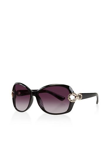 Plastic Rhinestone Link Detail Sunglasses,BLACK,large
