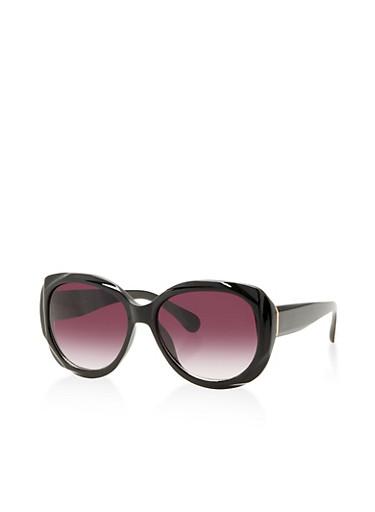 Plastic Oversized Sunglasses,BLACK,large