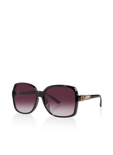 Glitter Detail Plastic Square Sunglasses,BLACK,large
