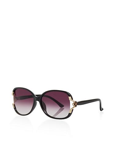 Flower Detail Sunglasses,BLACK,large