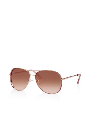 Glitter Trim Aviator Sunglasses,PINK,large