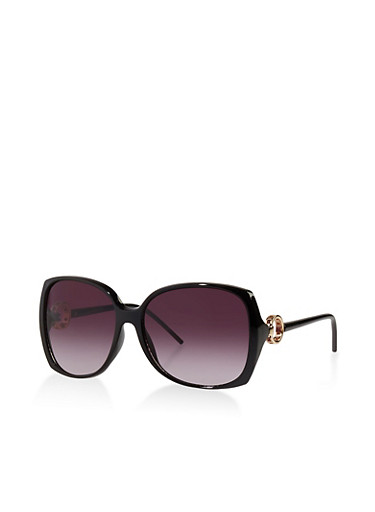 O Ring Detail Plastic Sunglasses,BLACK,large