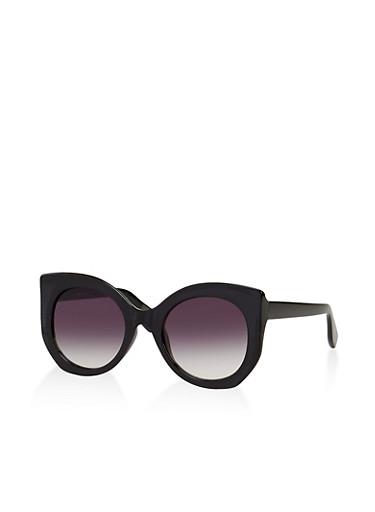 Oversized Round Cat Eye Sunglasses,BLACK,large