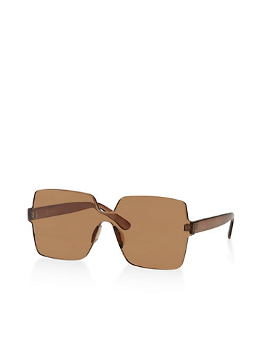Rimless Square Sunglasses | 3134004265567,BROWN,large