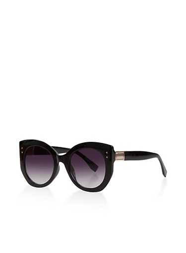 Oversized Round Sunglasses,BLACK,large