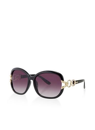 Link Detail Plastic Sunglasses,BLACK,large