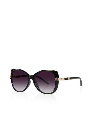 Metallic Temple Detail Sunglasses,BLACK,large
