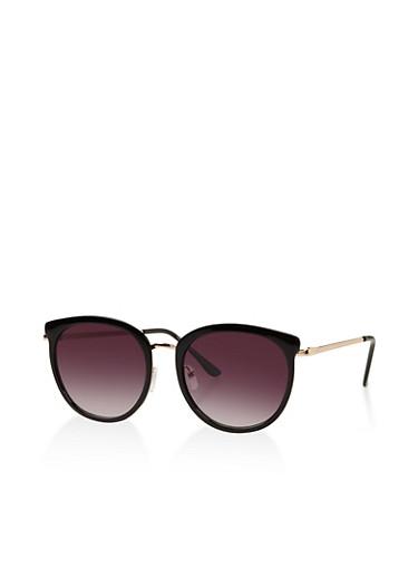 Mirrored Cat Eye Sunglasses,BLACK,large