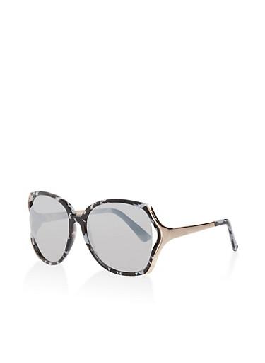 Large Mirrored Metallic Sunglasses,BLACK,large