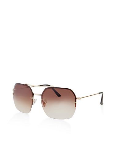 Half Rim Square Aviator Sunglasses,BROWN,large