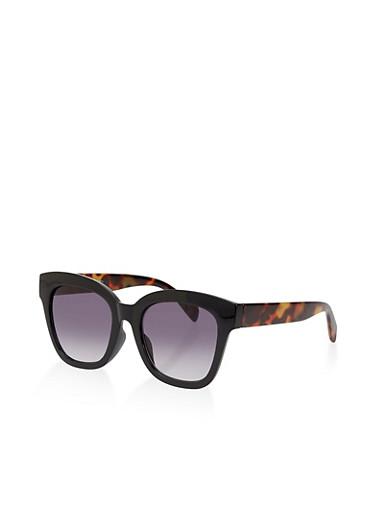 Plastic Two Tone Sunglasses,BLACK,large