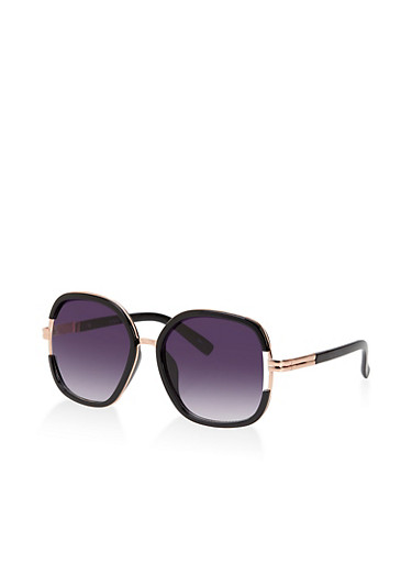 Round Open Side Sunglasses,BLACK,large